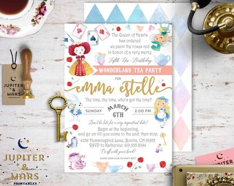 Alice In Wonderland Birthday Party Invitation, Wonderland Tea Party Invitation, Very Merry Un-Birthday Invitation, Queen Hearts DIGITAL FILE