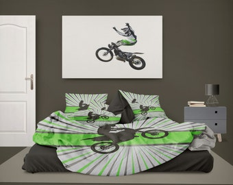 Extremely Stoked Mx Rider Green Motocross By Motocrossbedding