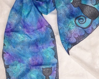 Hand painted pure silk scarf with cat