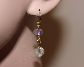 Ametrine Earrings, 14k Gold Filled, Hand Made