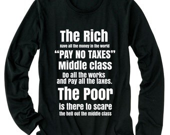 The Rich have all money in the world PAY NO TAXES Middle class do all works and pay all taxes The Poor is there to scare middle class Shirt