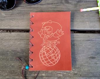 Notebook Mafalda leather, notebook leather, notebook Mafalda, notebook vintage, notebook leather, calendar leather, Mafalda,