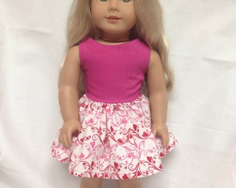 Bright pink dress 18 inch doll clothes