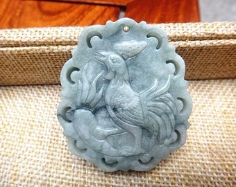 Natural green jade pendant amulet Chinese zodiac Chicken Pendant