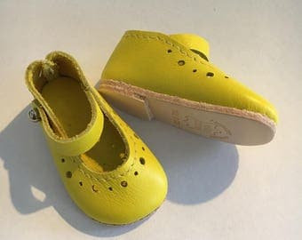 Doll shoes mary jane style 5,8x2,8 cm genuine leather YELLOW