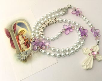 Personalized First Communion Rosary. First Communion Rosary. White and Pink Rosary. Catholic Rosary. Catholic Gift. Religious Gift. #R108