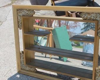 SOLD!!! 1950s Framed Shelved Mirror