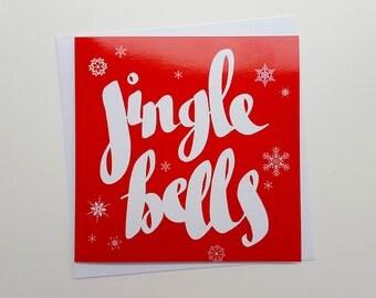 Jingle Bells Hand Drawn Christmas Card | Jingle Bells Card | Handmade Christmas Cards, Festive Cards, Christmas Greetings, Family Christmas