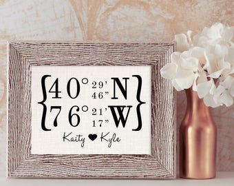 GPS Coordinates Gift // GPS Coordinates Sign // Wedding Venue Sign // Wedding Gift for Couple // First Home Sign // Burlap Print