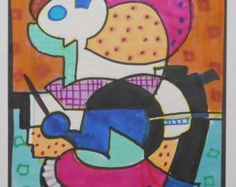 The Conductor - Original painting study in marker by abstract artist Jane Mitchell, 1980s