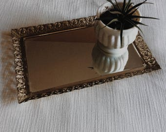Vintage Gold Filigree Dresser Mirror | Vintage Dresser Tray | Beauty Tray Mirror