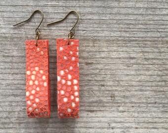 Orange Leather Earrings - Leather Earrings - Clemson Jewelry - Leather Drop Earrings - Leather Dangle Earrings - Gift for Her - Boho Chic
