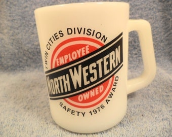 North Western Railroad Milk Glass Cup Twin Cities Safety Award 1976