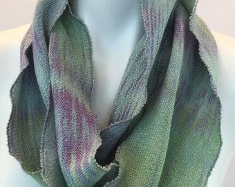Hand-dyed, handwoven, cotton and rayon, skinny infinity scarf in light green, light blue, and purple -LIS72