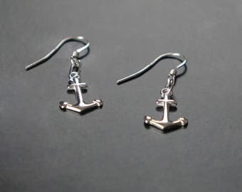 Pair of sterling silver anchor earrings