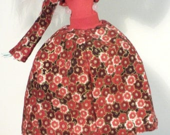 red gold flower bell skirt