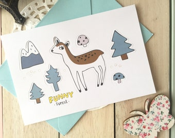 Funny Forest POP-UP Forest Animal  Blank Greeting Card With Envelope/1PC/DEER