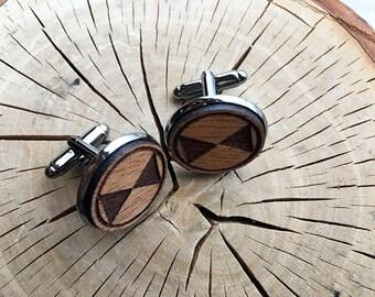Wooden Cufflink Pair (2) - Bow Tie Shape - Handmade Wooden Cufflinks