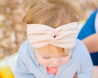 Peachy pink modal turban headband, twisted turban headwrap, Baby turban headband, soft and stretchy, Hair accessory
