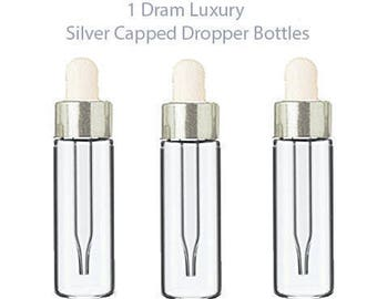 144 LUXURY Glass 5ml SILVER Dropper Bottles Essential Oil, Perfume, Serum, Beard Oil, Upscale Private Label Packaging 1/6 Oz BULK Cost