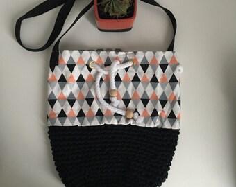 Bi-material backpack bag