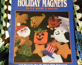 """Plastic Canvas Patterns """"Extra Special Holiday Magnets"""" - 3-D Magnets May Be Filled With Potpourri Or Scented Cotton Balls - 14 Designs"""