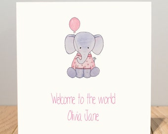 Personalised New Baby Girl Card - Welcome to the world elephant