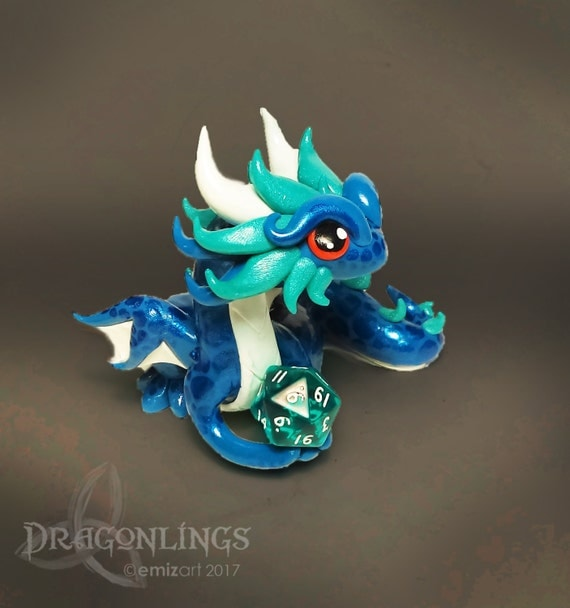 Polymer Clay Dice Holder Dragon- Turquoise, White, and Teal Pearl Dragonling: Lantis