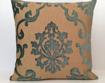 Teal and GoldishTan Pillow, Throw Pillow Cover, Decorative Pillow Cover, Cushion Cover, Accent Pillow, Velour Blend Pillow, Toss Pillow.