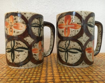 Speckled Stoneware Mugs Mid Century Set of 2
