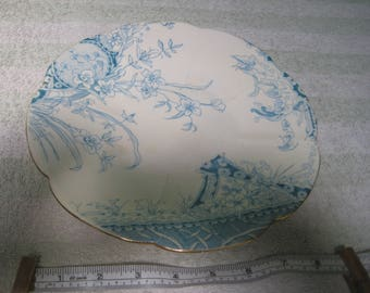 Wileman & Co (pre-Shelley) Vintage China Plate Jug Pale Blue Floral Design Gold Trim Shabby Chic