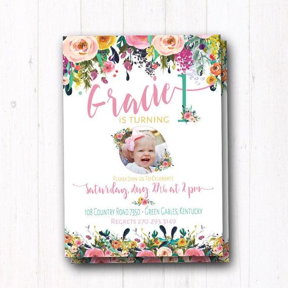 Boho birthday invitation bohemian baby girl birthday first il570xn stopboris Image collections