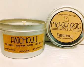 Patchouli Soy Candle Tin 8oz.