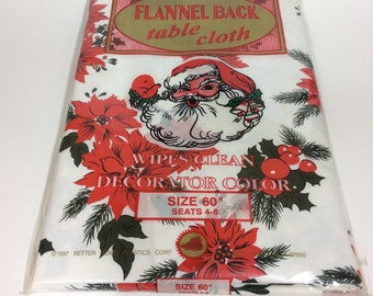 Vintage Christmas Tablecloth Flannel Back Red Poinsettia Christmas Decor New Old Stock