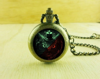 1pcs Retro Gentleman Cat Quartz Pocket Watch Lady Necklace Pendant,craft supply CA-30