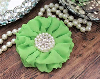 """4"""" Lime Green Chiffon Fabric Flowers with Crystal Pearl Center - Fluffy - Beautiful -Hair Accessories - Wedding - TheFabFind"""
