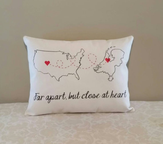 Pillow Gift Ideas: Miles Apart Pillow Country to Country Gift Deployment Gift,