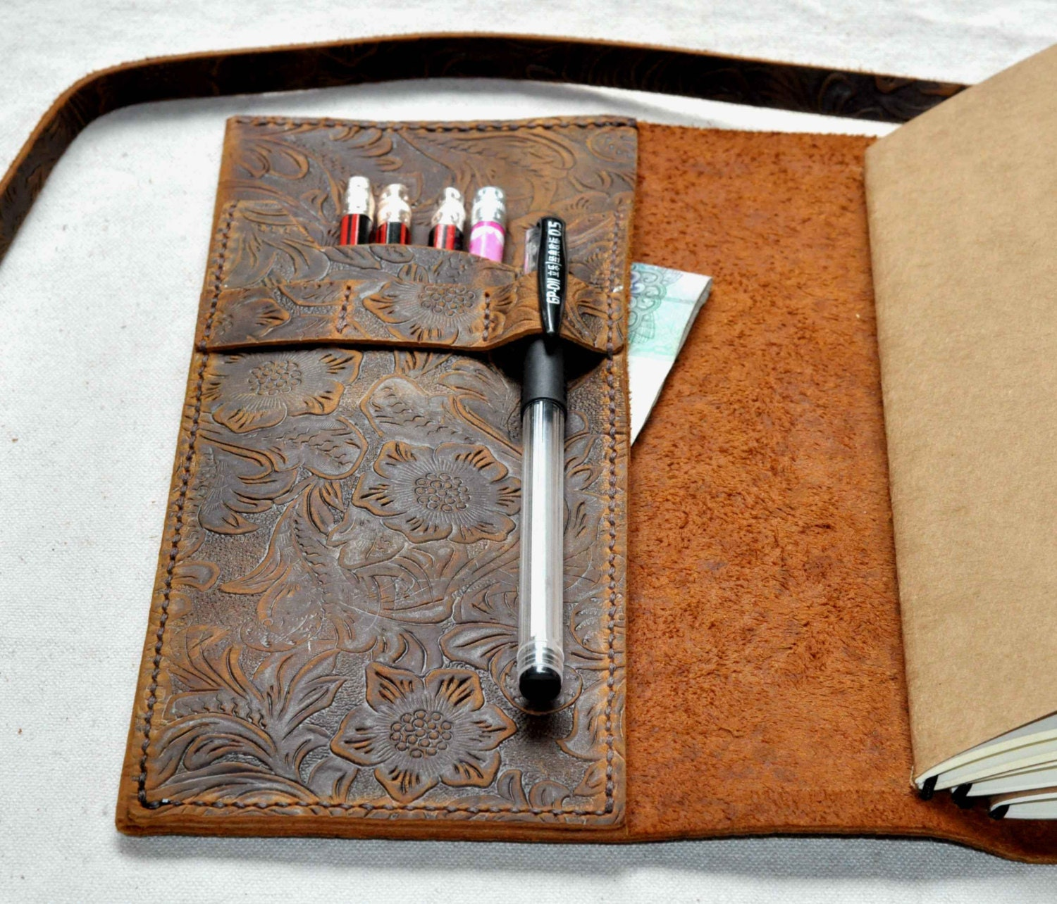 Refillable Personalized Leather Journal Notebook Gift Free
