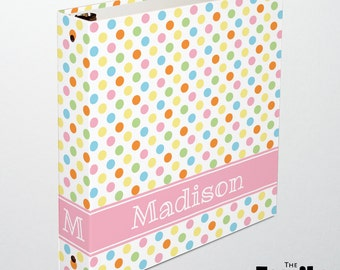 Polka Dot Personalized Binder, Cute Binder, Bright or Pastel Custom 3 Ring Binder, Girl's Binder, School Binder, Planner Binder, TFS/RB007