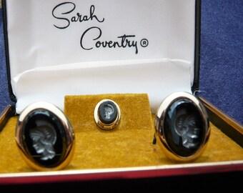 1960's Vintage Sarah CoventryReverse Black Cameo Centurian Head Cufflinks and Tie Pin/Tack Set