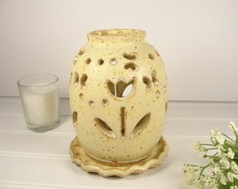 Spring Luminary, Tulip Candle lantern, Pottery Luminary, Pottery Lamp, Pottery Gift.