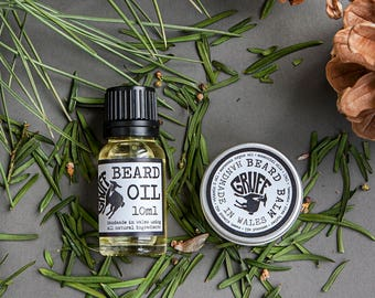 Beard Care Oil & Balm set, Mens skin care, male grooming kit, mens toiletries, Fathers Day, Facial Hair