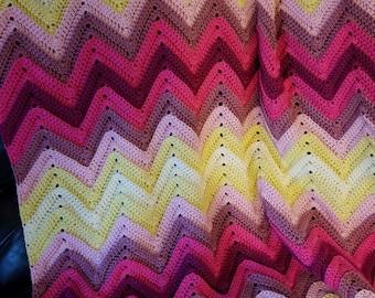 Pink and yellow ripple afghan