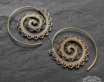 Brass Spiral Earrings,Tribal Earrings,Hoop Earrings, tribal jewelry, Gipsy Earrings, Indian earrings