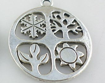 3/12/100pcs Tibetan Silver Round sign spring/summer/fall/winter Charms Pendants
