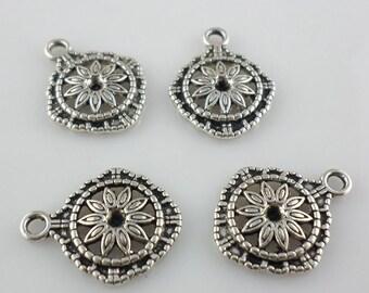 10/40/300pcs Antique Silver Flower Charms Pendants 14x17mm