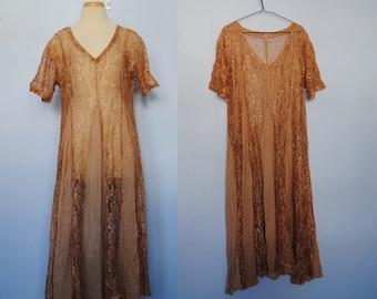 Vintage Lace Maxi Dress, 90s Grunge Dress - golden peach - babydoll dress - ankle length - long dress - 1990s 90s clothing - medium