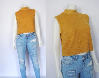 Vintage gold sparkle crop top, 80s metallic knit tank top -- mock neck, sleeveless sweater, oversized boxy, baggy, cropped, shiny top