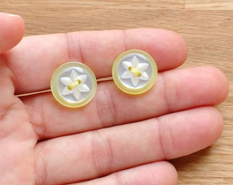 Vintage button earrings, Spring flower studs, button jewellery, gift for Mom, lemon yellow earrings, fresh jewellery, gift wrapped