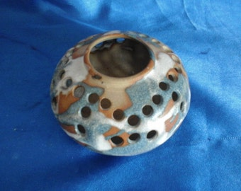 Studio Pottery Potpourri Holder Signed